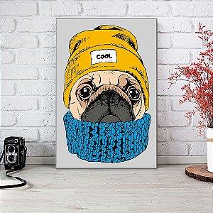 Quadro Decorativo - Pug agasalhado