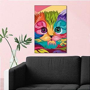Quadro Decorativo - Gato Wpap colorido