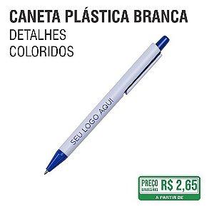 Caneta Plástica Branca com Detalhes Coloridos