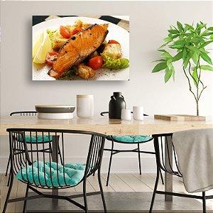 Quadro Decorativo - Comida Oriental Salmão Grelhado com Legumes