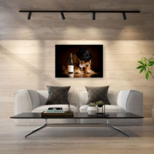 Quadro Decorativo - Golden Retriever com Vinho Branco