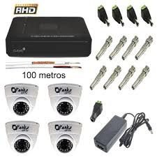 Kit CFTV c/ 4 cameras infra + DVR + Fonte + Cabo (Acesso iCloud)
