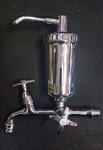 Torneira metal reta fixa 18cm com filtro ABS