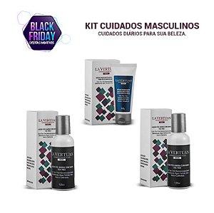 Kit Cuidados Masculinos - Loção Pós-Barba com Nano Tea Tree 120ml + Sérum Hidratante Matificante para peles Masculinas 60g + Spray Abdominal Masculino 150ml