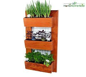 Horta Vertical de 3 Vasos de plantio direto! Plante direto no vaso de madeira