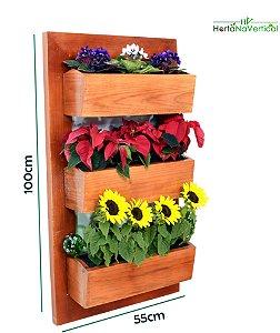 Jardim Vertical sem Tela Premium 03 Vasos - 55X100cm