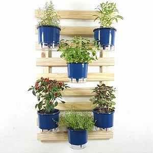 Horta Auto-Irrigável - Treliça Natural (100x60) + 6 Vasos Lisos Grandes em Diversas Cores