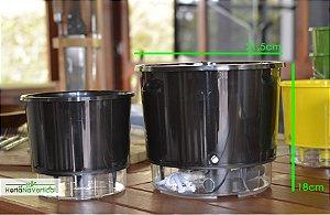 Vaso Auto-Irrigável - gigante (21,7cm x 19cm) - diversas cores
