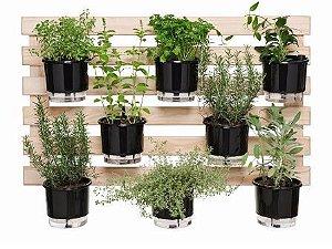 Horta Auto-Irrigável - treliça (60x100) + 8 Vasos Lisos Auto Irrigáveis (diversas cores) + 8 suportes de ferro