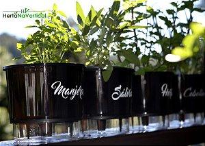 KIT - 4 Vasos Auto-Irrigáveis - Linha Gourmet PRETO - Escolha os vasos!