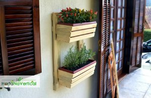 Painel Horta ou Jardim Vertical - cor Branco - 2 Cachepos