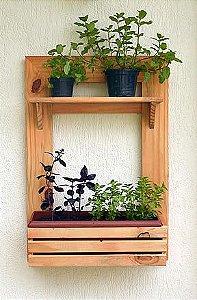 Painel Horta ou Jardim Vertical - cor Mogno - 2 Níveis