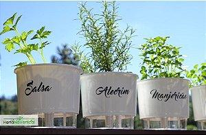 KIT - 3 Vasos Auto-Irrigáveis - Linha Gourmet BRANCO - Escolha os vasos!