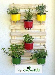 Horta Vertical Auto-Irrigável - treliça (100x60) + 6 Vasos Raiz (diversas cores) + 6 suportes de ferro
