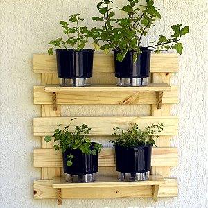 Horta  Vertical Auto-Irrigável - treliça (60x60) + 4 Vasos Lisos Preto + 2 prateleiras