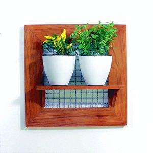 Horta Vertical - Painel com tela - 1 prateleira e com 2 Vasos Auto Irrigáveis da Plantiê