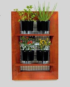 Horta na Vertical de Madeira envernizada com 04 Vasos Autoirrigáveis Lisos - Preta