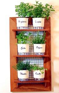 Horta na Vertical de Madeira Envernizada com 06 Vasos Autoirrigáveis Gourmet - Branco