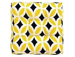 Futon - Almofada para Sacada/Jardim Estampado Retro Amarelo