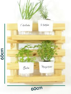 Horta  Vertical Auto-Irrigável - treliça (60x60) + 4 Vasos Linha Gourmet Brancos + 2 prateleiras