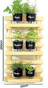 Horta Vertical Auto-Irrigável - treliça (100x60) + 6 Vasos Linha Gourmet Preto + 3 prateleiras
