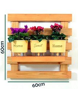 Horta Vertical Auto-Irrigável - treliça cor mogno (60x60) + 3 Vasos Linha Wishes Amarelo - Home Sweet Home