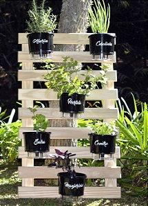 Horta Vertical Auto-Irrigável - treliça (100x60) + 6 Vasos Linha Gourmet Preto + 6 suportes de ferro