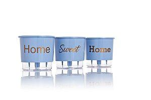 Conjunto 3 Vasos Autoirrigáveis Grandes - Home Sweet Home - Azul