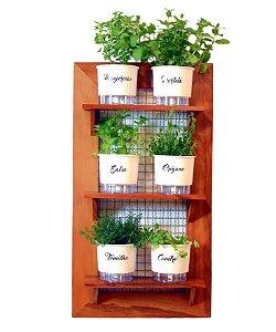 Horta Vertical de painel com 6 Vasos Auto Irrigáveis da Linha Gourmet Brancos