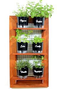 Horta Vertical de painel com 6 Vasos Auto Irrigáveis da Linha Gourmet Pretos