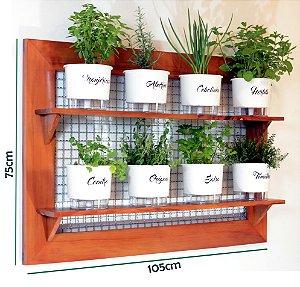 Horta Vertical de painel gigante com 8 Vasos Auto Irrigáveis linha gourmet brancos