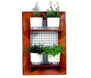 Horta Vertical de painel com 4 Vasos Auto Irrigáveis lisos brancos
