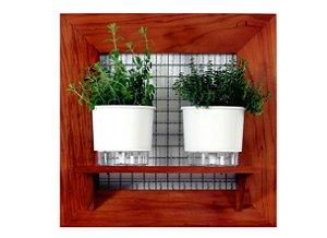 Horta Vertical de painel com 2 Vasos Auto Irrigáveis lisos brancos