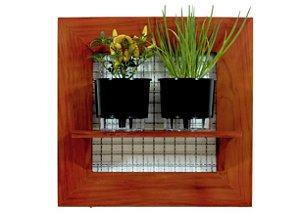 Horta Vertical de painel com 2 Vasos Auto Irrigáveis lisos pretos