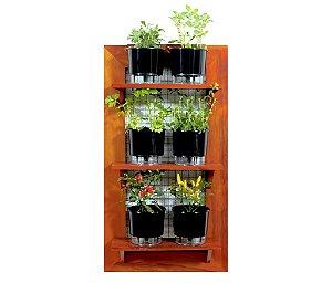Horta Vertical de painel com 6 Vasos Auto Irrigáveis Lisos Pretos ou coloridos