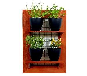 Horta Vertical - Painel com tela - 2 prateleiras com 4 Vasos Auto Irrigáveis da Plantiê (cores foscas)