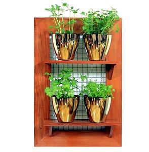 Horta Vertical - Painel com tela - 2 prateleiras com 4 Vasos Auto Irrigáveis da Plantiê (cores metalizadas)