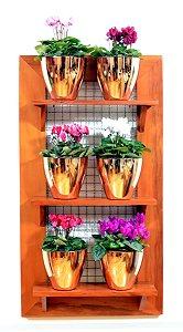 Horta Vertical - Painel com tela - 3 prateleiras com 6 Vasos Auto Irrigáveis da Plantiê (cores metalizadas)