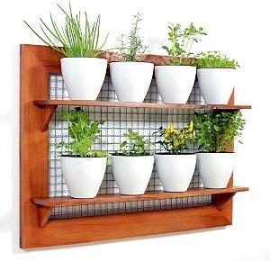 Horta Vertical - Painel com tela - 2 prateleiras com 8 Vasos Auto Irrigáveis da Plantiê (cores foscas)