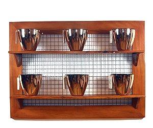 Horta Vertical - Painel com tela - 2 prateleiras com 6 Vasos Auto Irrigáveis da Plantiê (cores metalizadas)