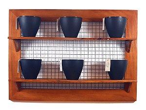 Horta Vertical - Painel com tela - 2 prateleiras com 6 Vasos Auto Irrigáveis da Plantiê (cores foscas)