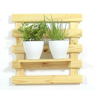 Horta Vertical - Treliça & Pallet - 1 prateleira e com 2 Vasos Auto Irrigáveis da Plantiê (cores foscas)