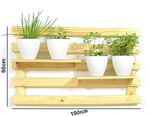 Horta Vertical - Treliça & Pallet deitada (60cmx100cm)- 2 prateleira e com 4 Vasos Auto Irrigáveis da Plantiê (cores foscas)