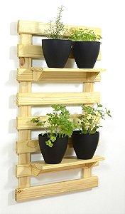 Horta Vertical - Treliça & Pallet em pé (100cmx60cm) - 2 prateleira e com 4 Vasos Auto Irrigáveis da Plantiê (cores foscas)