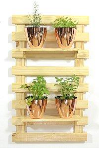 Horta Vertical - Treliça & Pallet em pé (100cmx60cm) - 2 prateleira e com 4 Vasos Auto Irrigáveis da Plantiê (cores metalizadas)
