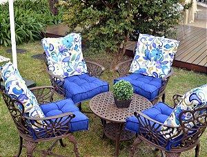 2 Futons - Conjunto de 2 almofadas Futons para Sacada/Jardim Estampado Azul com Lilás