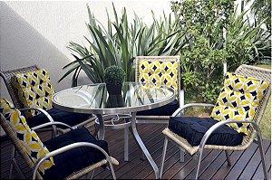 2 Futons - Conjunto de 2 almofadas Futons para Sacada/Jardim Liso Preto e futon amarelo retrô