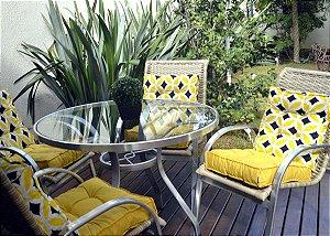 2 Futons - Conjunto de 2 almofadas Futons para Sacada/Jardim Liso Amarelo e futon amarelo retrô