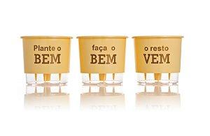 Conjunto 3 Vasos Autoirrigáveis Grandes - Plante o Bem - Amarelo