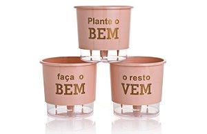 Conjunto 3 Vasos Autoirrigáveis Grandes - Plante o Bem - Rosa